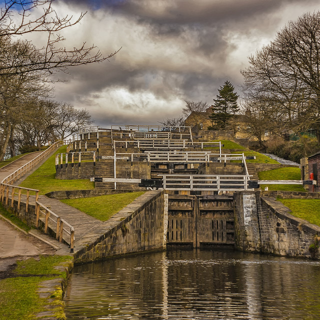 """Bingley Five Rise Locks"" stock image"