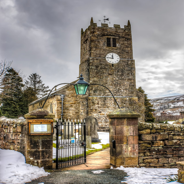 """The Church at Muker Yorks Dales"" stock image"