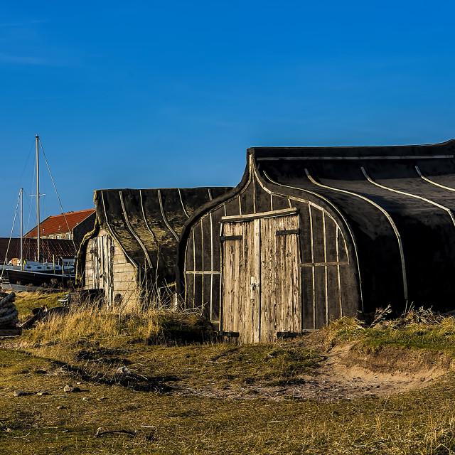 """""""Lindisfarne Boat Sheds"""" stock image"""