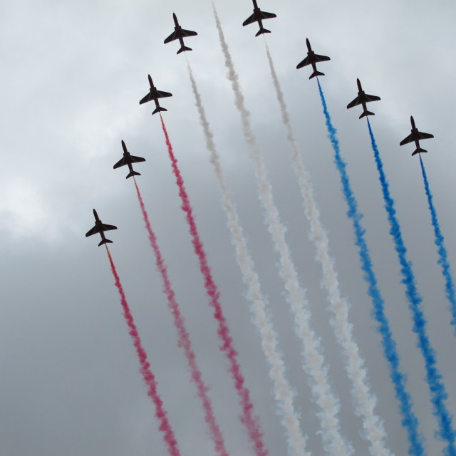 """""""Olympic Red Arrows"""" stock image"""