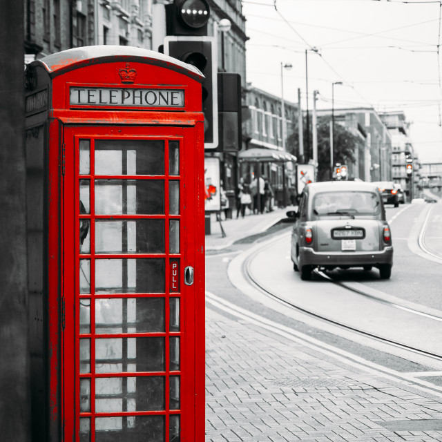 """Red English telephone box"" stock image"