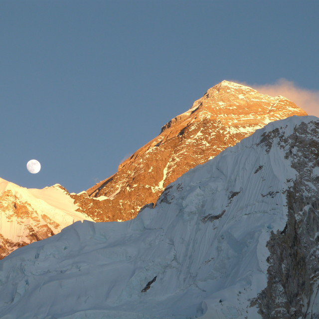 """Sunset & Moonrise on Mount Everest"" stock image"