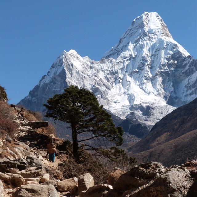 """Ama Dablam & Local Nepali"" stock image"