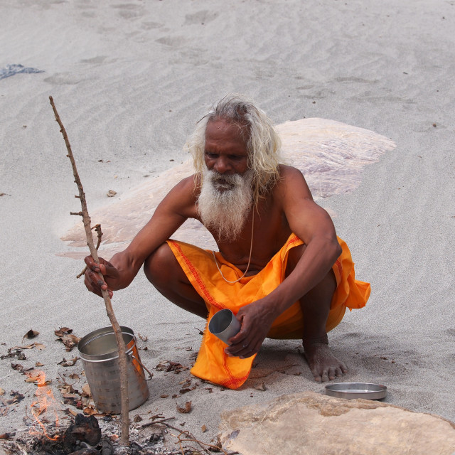 """sadhu on ganges"" stock image"