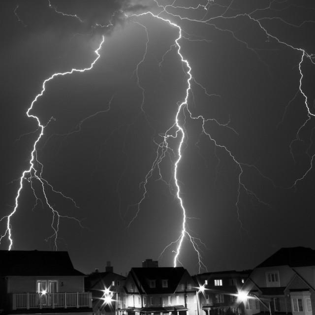 """Lightning on the Village!"" stock image"