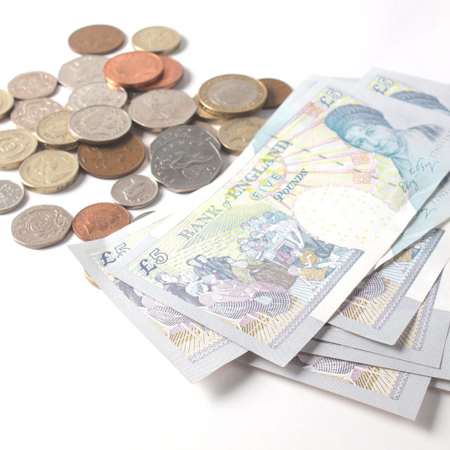 """Pound note and coin"" stock image"