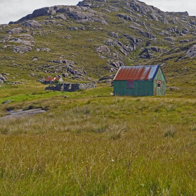 """Scottish farm shack"" stock image"