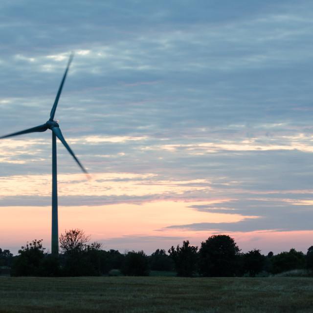 """Wind turbine at late evening"" stock image"