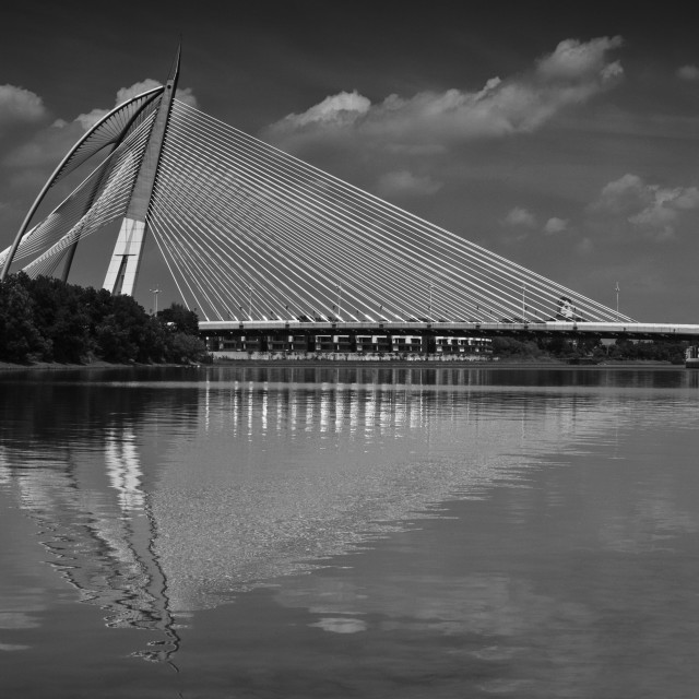"""Seri Wawasan Bridge in B&W"" stock image"