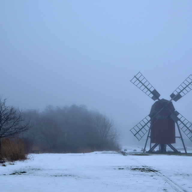 """""""Foggy windmill silhouette"""" stock image"""