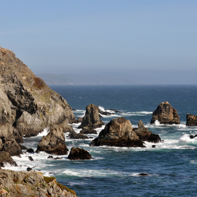 """Horizontal rocky shoreline near Bodega Bay on the California coa"" stock image"