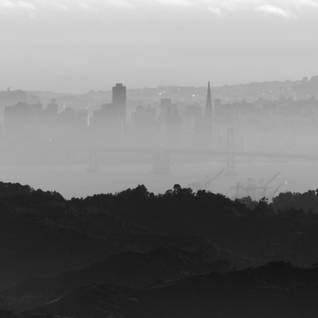 """""""View of San Francisco skyline from Mt. Diablo"""" stock image"""