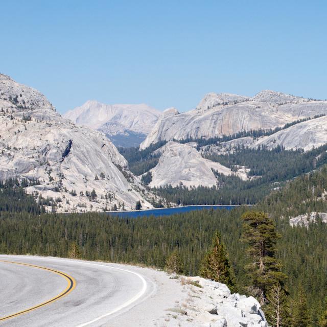 """Tenaya Lake and highway 120 in Yosemite"" stock image"
