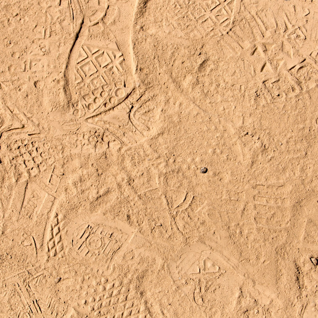 """""""foot prints in dried mud"""" stock image"""