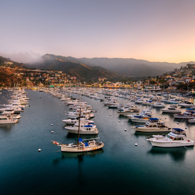 """Catalina Island Harbor At Sunset"" stock image"