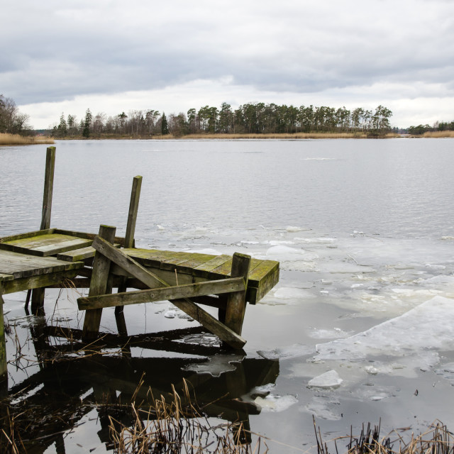 """""""Ice break-up at an old jetty"""" stock image"""