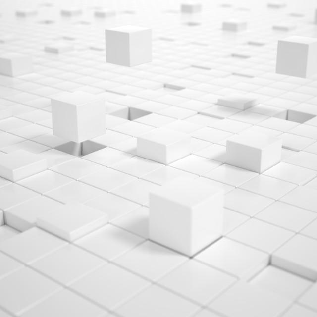"""""""White Cubes building a Platform"""" stock image"""