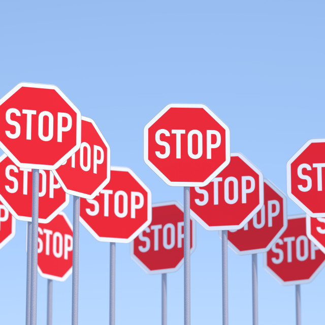 """Group of Stop Signs"" stock image"