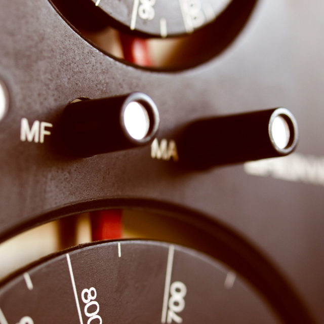 """Old AM - FM radio tuner"" stock image"