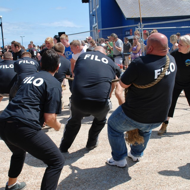 """Tug of War, Hastings"" stock image"