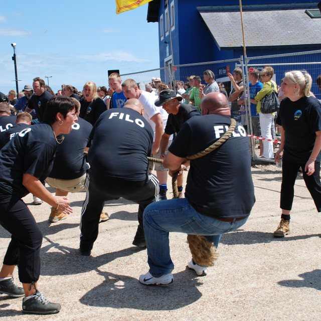 """Tug of War competition, Hastings"" stock image"