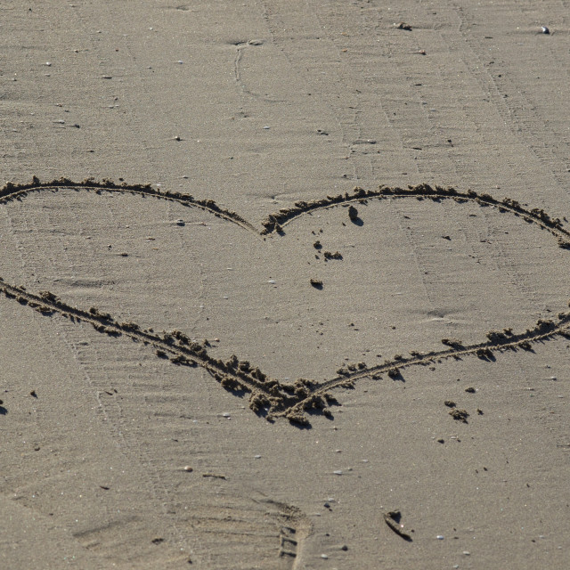 """heart on the sand"" stock image"