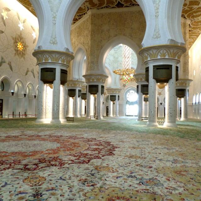 """Carpet & interior, Sheikh Zayed Grand Mosque"" stock image"