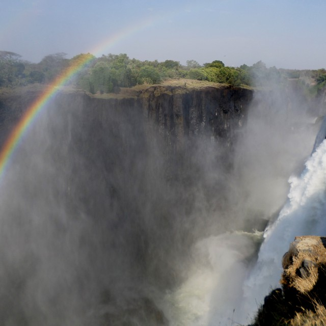 """""""View over the edge of Victoria Falls"""" stock image"""