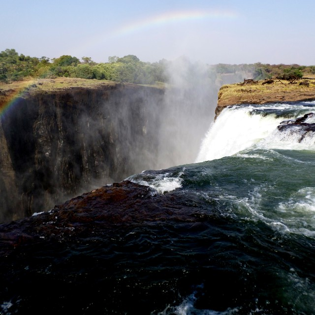 """View over the edge of Victoria Falls"" stock image"