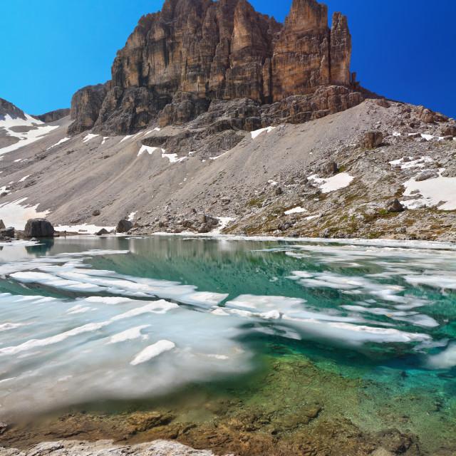 """""""Dolomites - lake Pisciadu"""" stock image"""