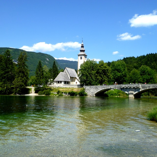 """Church at Lake Bohinj, Slovenia"" stock image"