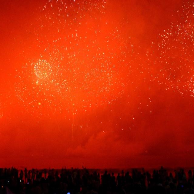 """Red sky new year fireworks, Rio de Janeiro"" stock image"