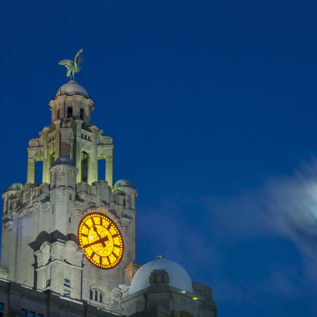 """Liver Building by Moonlight, Liverpool"" stock image"