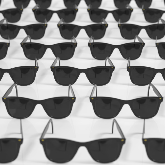 """Grid of Black Sunglasses"" stock image"