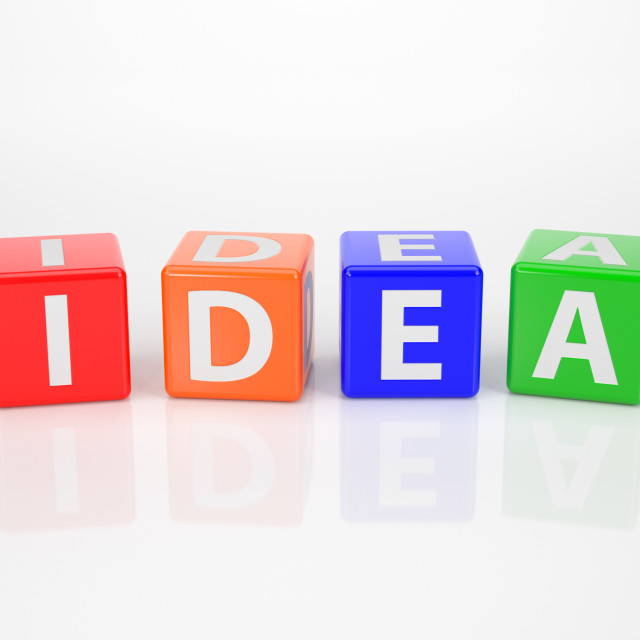 """Idea out of multicolored Letter Dices"" stock image"