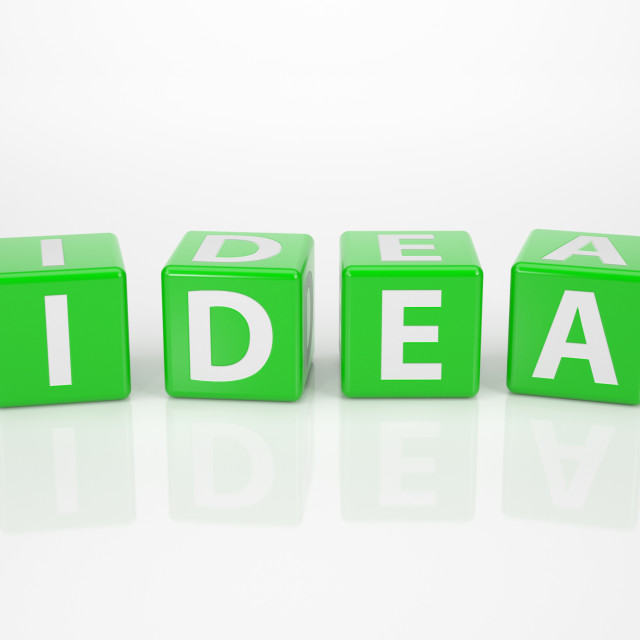 """Idea out of green Letter Dices"" stock image"