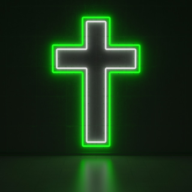 """Christian Cross - Series Neon Signs"" stock image"