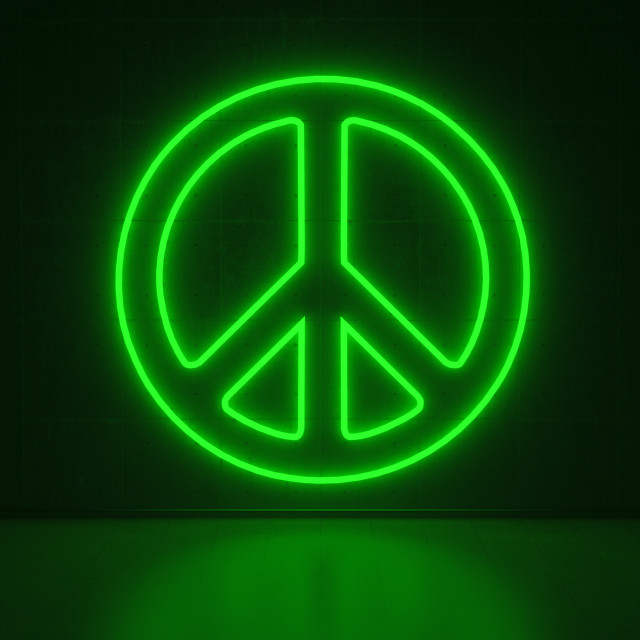 """Peace Symbol - Series Neon Signs"" stock image"