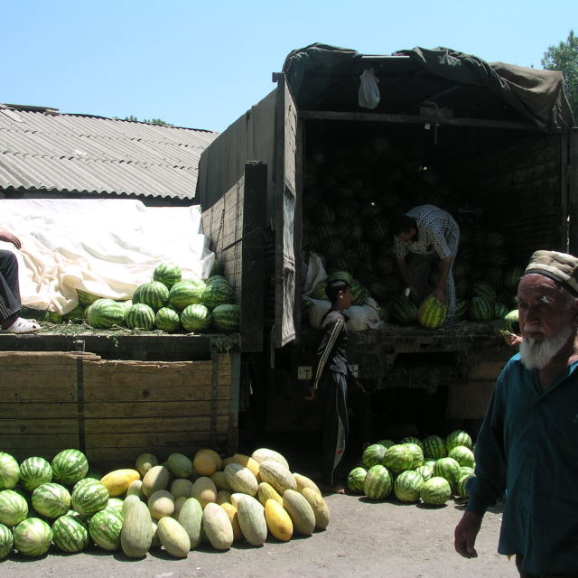"""Unloading water melons"" stock image"