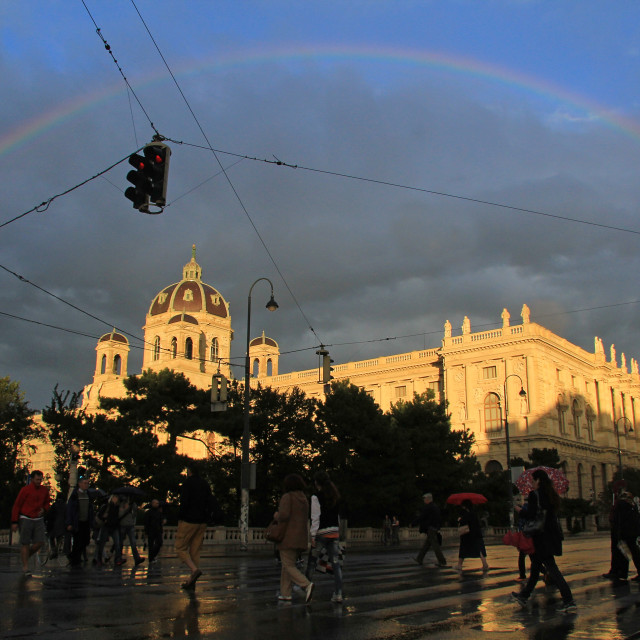 """Rainbow over Vienna"" stock image"