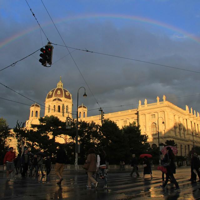 """Rainbow over Vienna"" stock image"