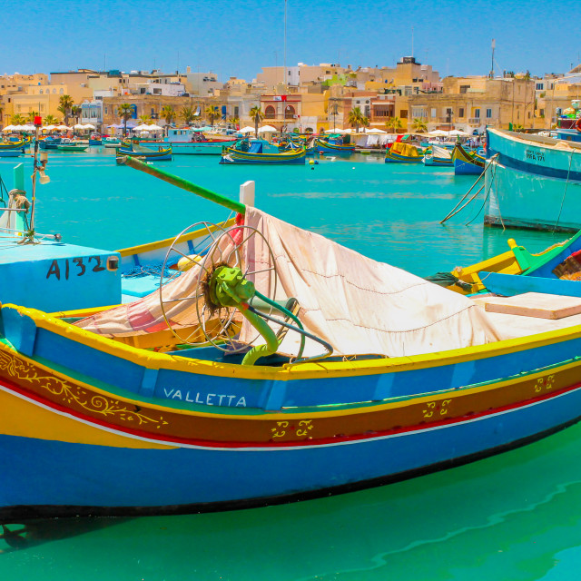 """Maltese fishing boats Valletta"" stock image"
