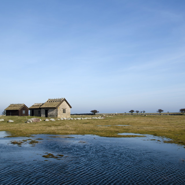 """""""Fishermens old cabins"""" stock image"""