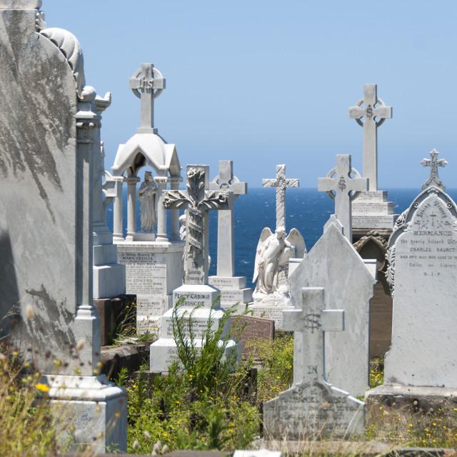 """""""Cemetery gravestones"""" stock image"""