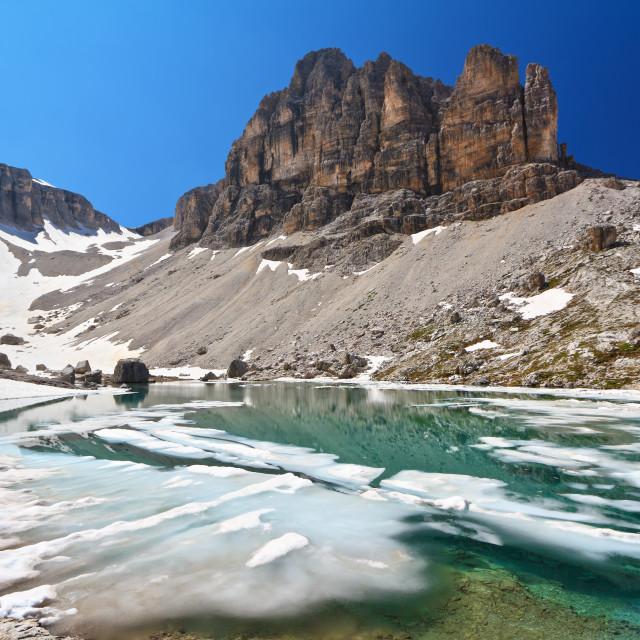 """Dolomiti - lake Pisciadu"" stock image"