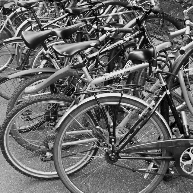 """Bicycles Parked"" stock image"