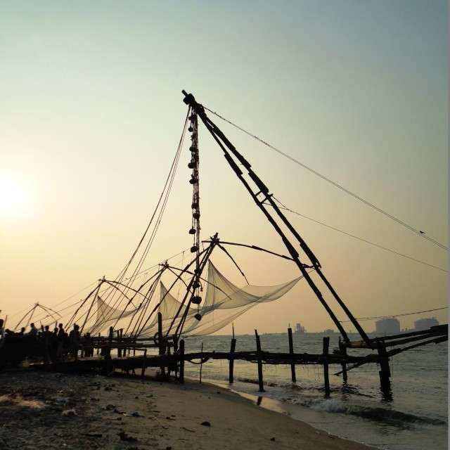 """Chinese fishing nets, Kerala"" stock image"