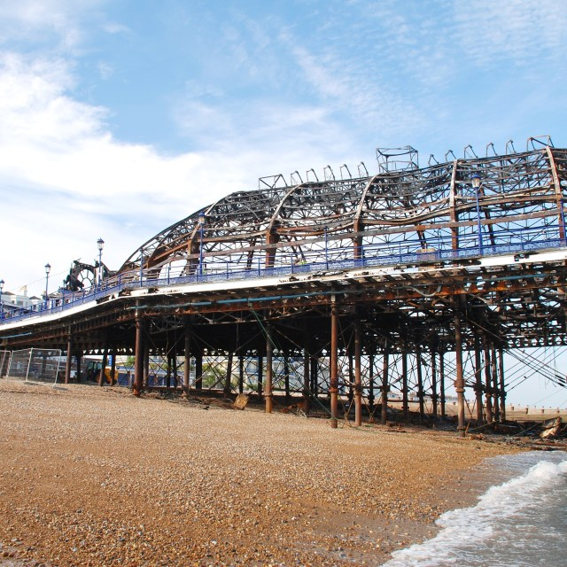 """Eastbourne Pier fire damage"" stock image"