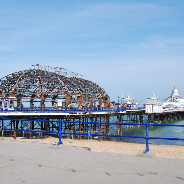 """Fire damage at Eastbourne Pier"" stock image"