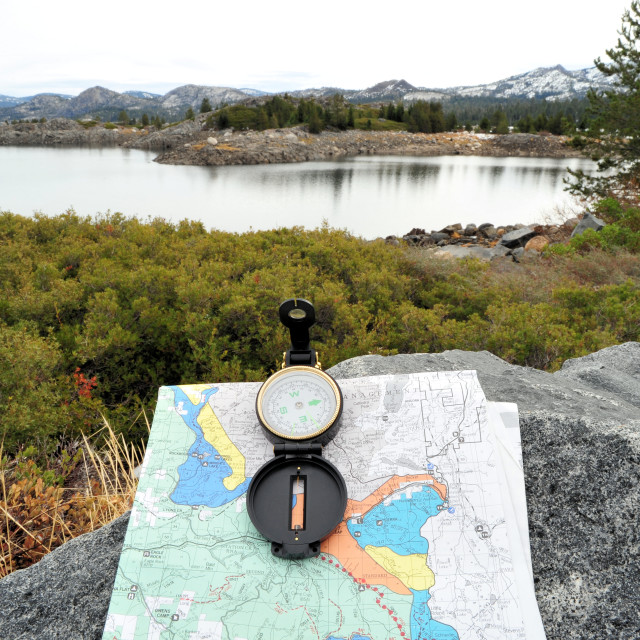 """""""Compass, Map And Lake"""" stock image"""